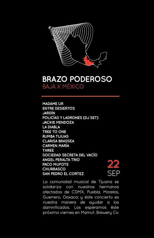 """""""Brazo poderoso: Baja x México""""; concierto a beneficio de los damnificados"""