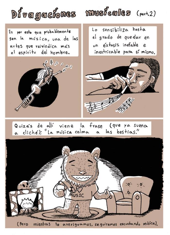 """Cómic: """"Divagaciones musicales"""" por Parraguirre"""