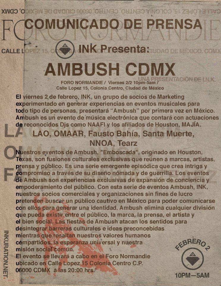 NAAFI regresará al Foro Normandie en el nuevo evento de INK en la CDMX