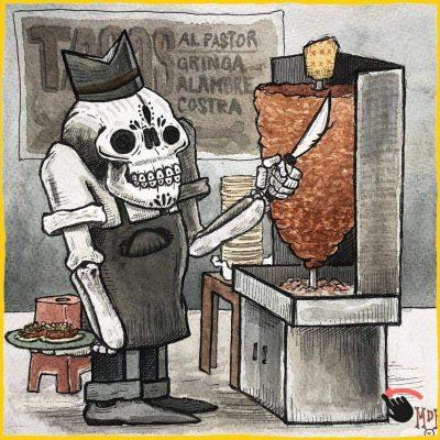 'Muertitos de Hambre'; Obra de Juan de Dios Garza que resalta la gastronomía y la muerte