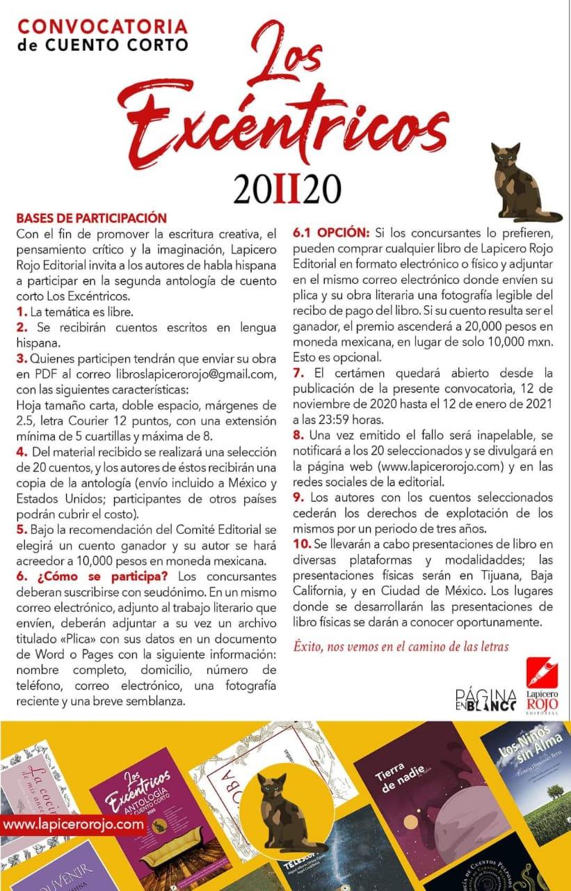 """Lapicero Rojo Editorial lanza convocatoria de cuento corto """"Los excéntricos"""""""